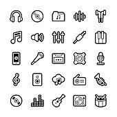 Music icons - Regular Outline Vector EPS File.