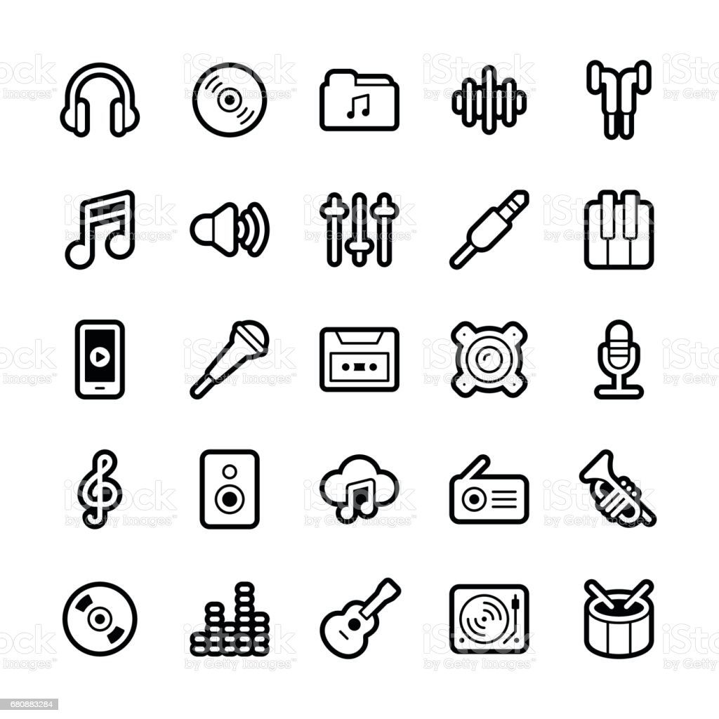 Music icons - Regular Outline vector art illustration