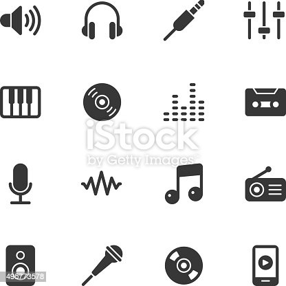 Music icons - Regular Vector EPS File.
