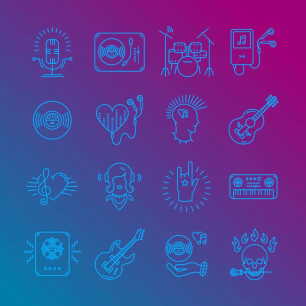 Music Icons Rock Music Symbols Monochrome Music Icons On A Gradient