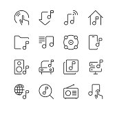 Collection of music and sound icons. Line design, flat colors.