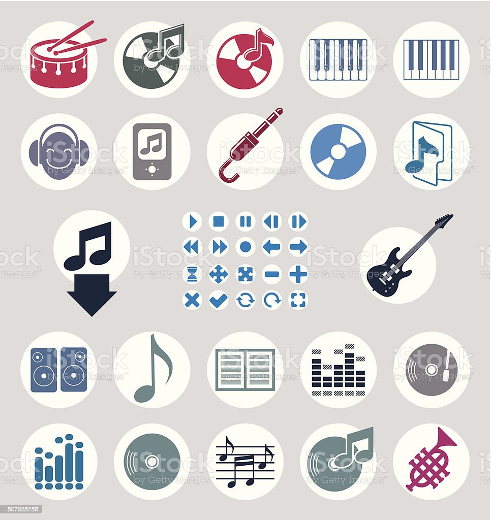 Music icons set, simple vector icons set for music royalty-free stock vector art