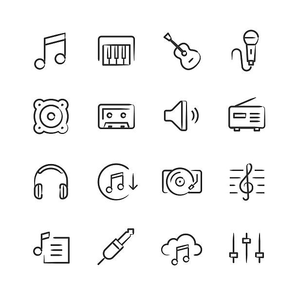 Music Icons — Sketchy Series vector art illustration