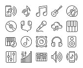 Music icons. Sound and Music line icon set. Vector illustration. Editable stroke