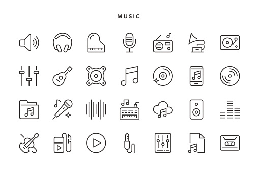 Music Icons - Vector EPS 10 File, Pixel Perfect 28 Icons.
