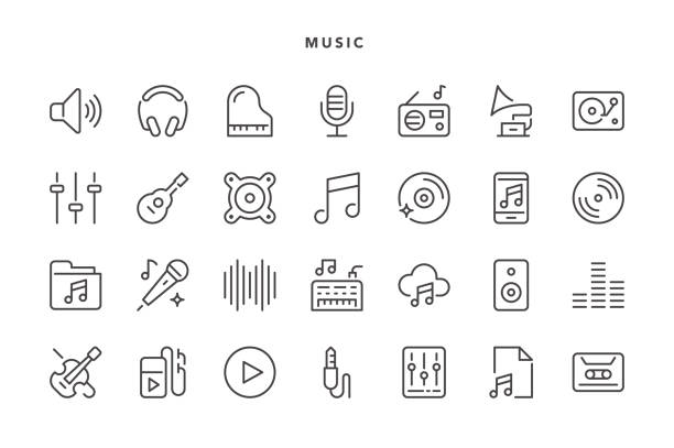 Music Icons Music Icons - Vector EPS 10 File, Pixel Perfect 28 Icons. lyric stock illustrations