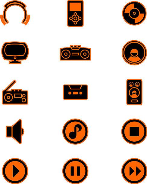music icons (orange) vector art illustration