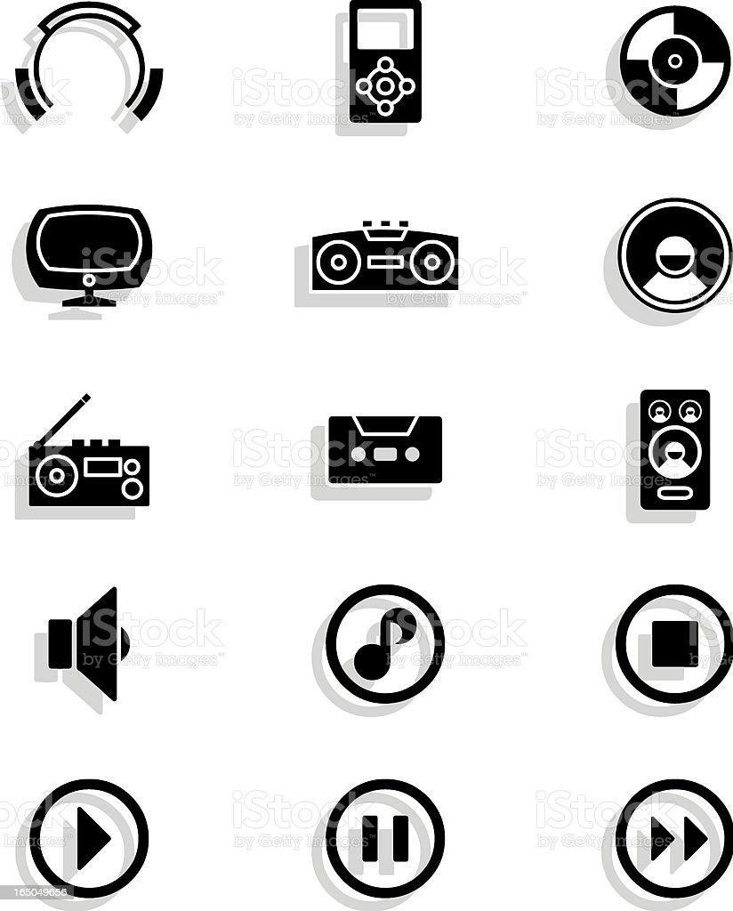 music icons (black) vector art illustration