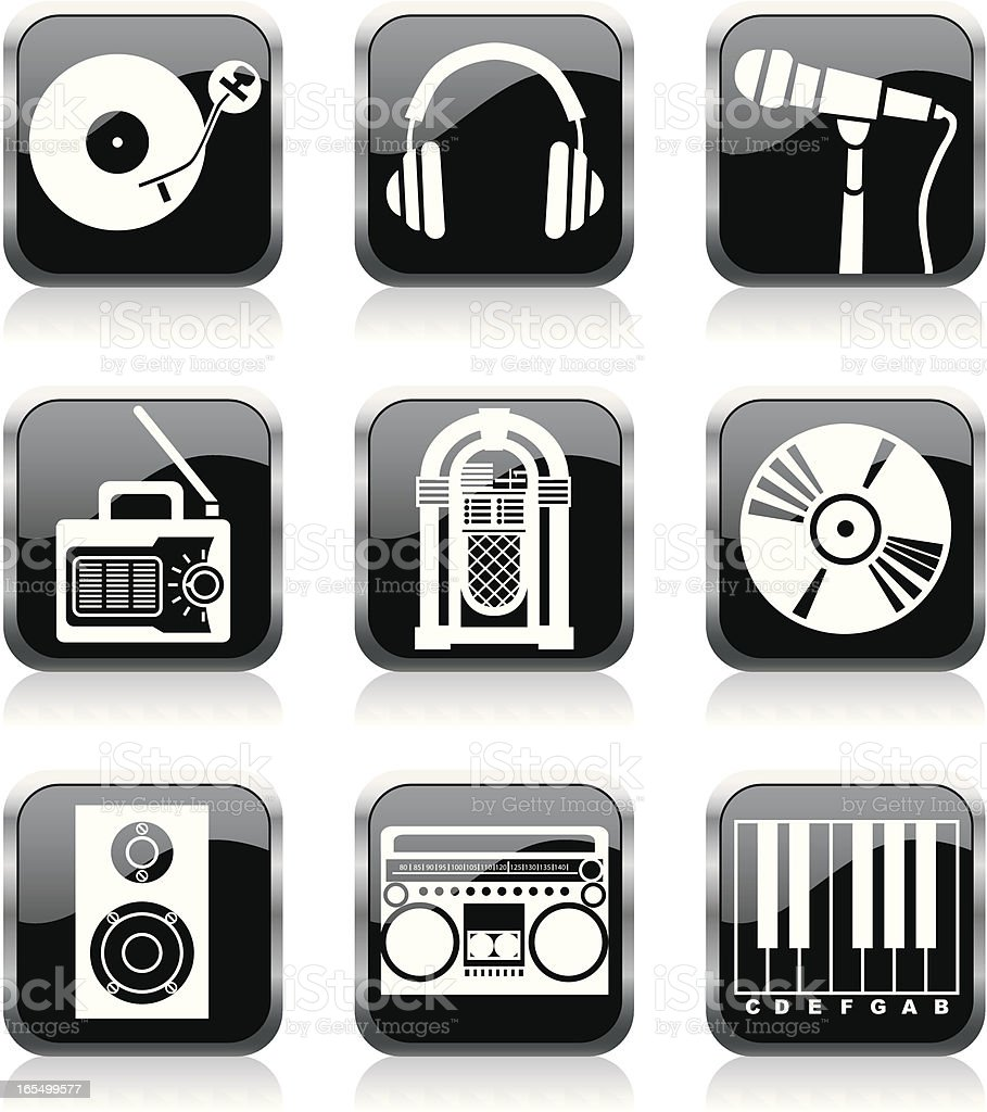 music icons royalty-free stock vector art