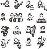 Set of 16 Music related icons. JPG file and EPS8 file.