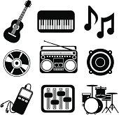 Vector icons with a music theme.