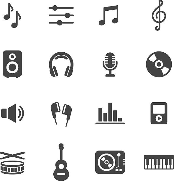 stockillustraties, clipart, cartoons en iconen met music icons - dj