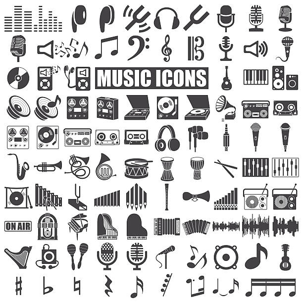 illustrations, cliparts, dessins animés et icônes de icônes de la musique - icônes musique