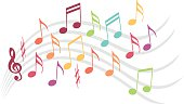 Colorful musical notes seem to dance on a range of music