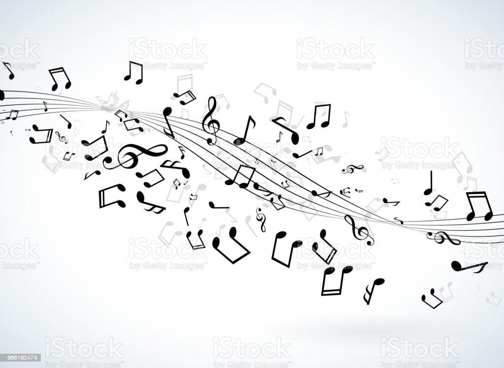 Music illustration with falling notes on white background. Vector design for banner, poster, greeting card. - Grafika wektorowa royalty-free (Abstrakcja)
