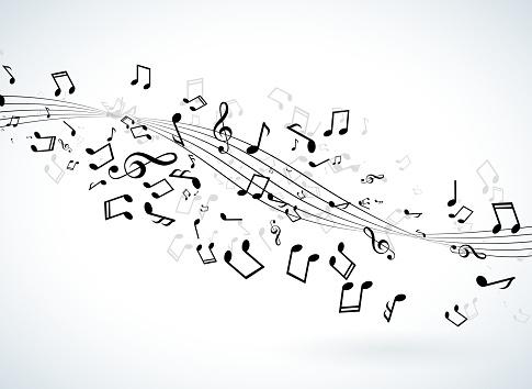 Music Illustration With Falling Notes On White Background Vector Design For Banner Poster Greeting Card - Stockowe grafiki wektorowe i więcej obrazów Abstrakcja