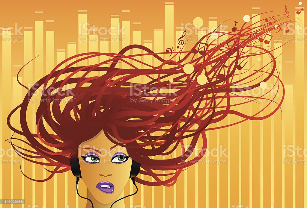 Music in the Air vector art illustration
