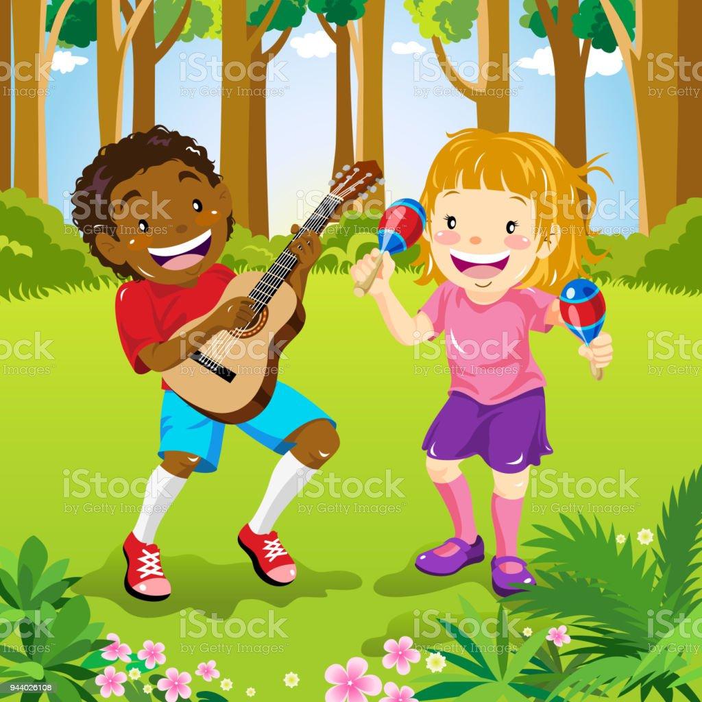 Music In The Park vector art illustration