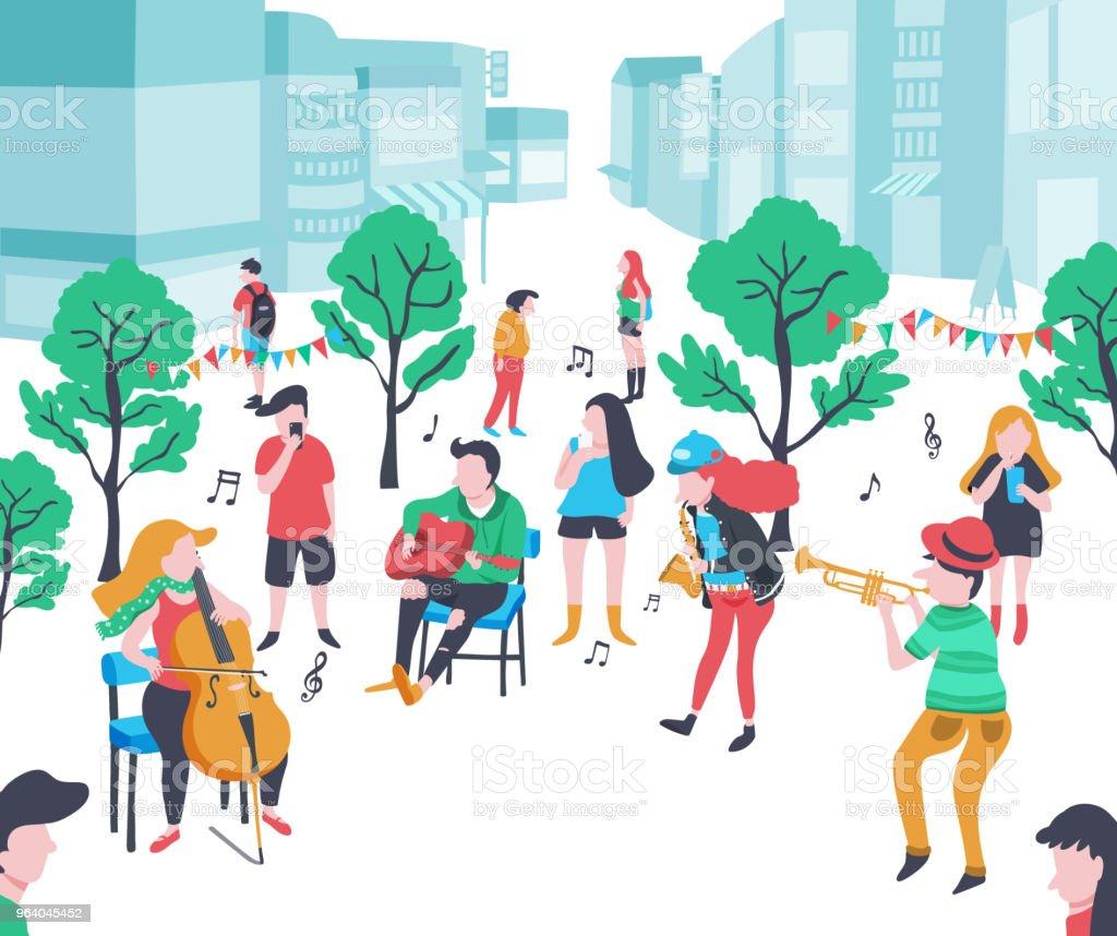 の音楽公園 - いたずら書きのロイヤリティフリーベクトルアート