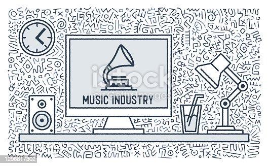 istock Music Industry Vector Doodle Design 1296817302