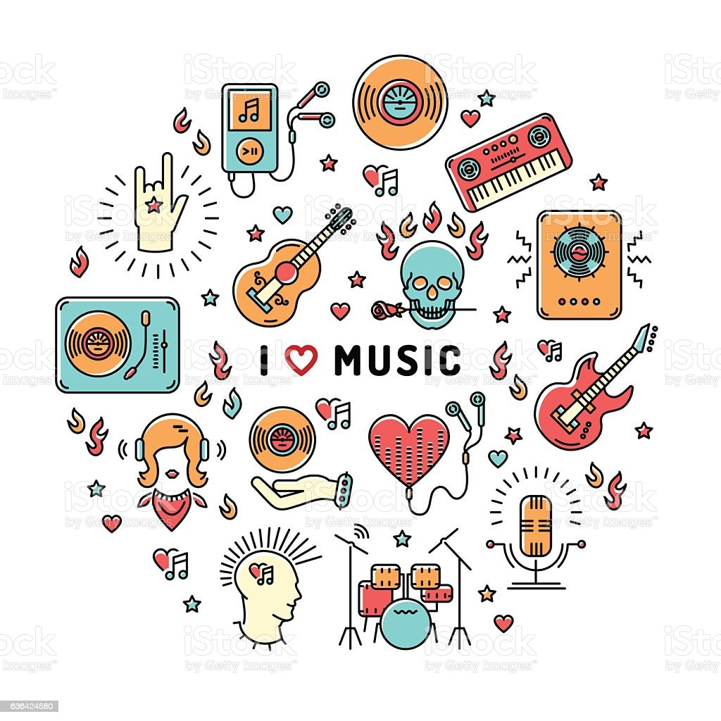 Music infographics line art icons, inspiring quote - Illustration vectorielle