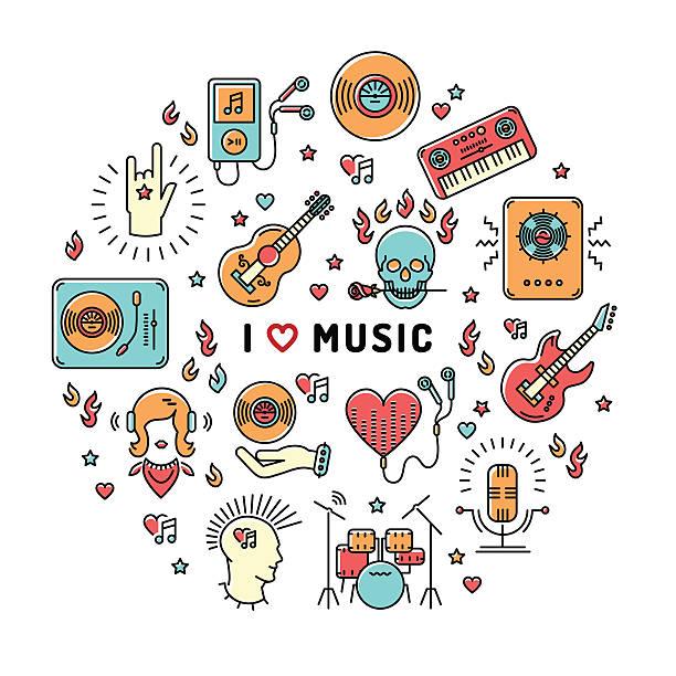 illustrations, cliparts, dessins animés et icônes de music infographics line art icons, inspiring quote - icônes musique