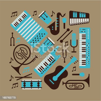 Composition with music instruments. ZIP includes large JPG (CMYK), PNG with transparent background.