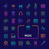 Simple gradient color icons isolated over dark background related to musics and instruments. Vector signs and symbols collections for website and app..