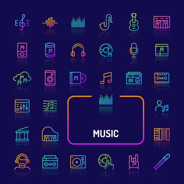 ilustrações, clipart, desenhos animados e ícones de música & instrumento linha graduável ícone definir (eps 10) - cd