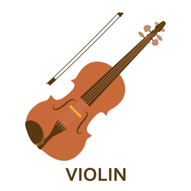 bildbanksillustrationer, clip art samt tecknat material och ikoner med musik instrument ikonen. violin. flat vektorillustration - violin