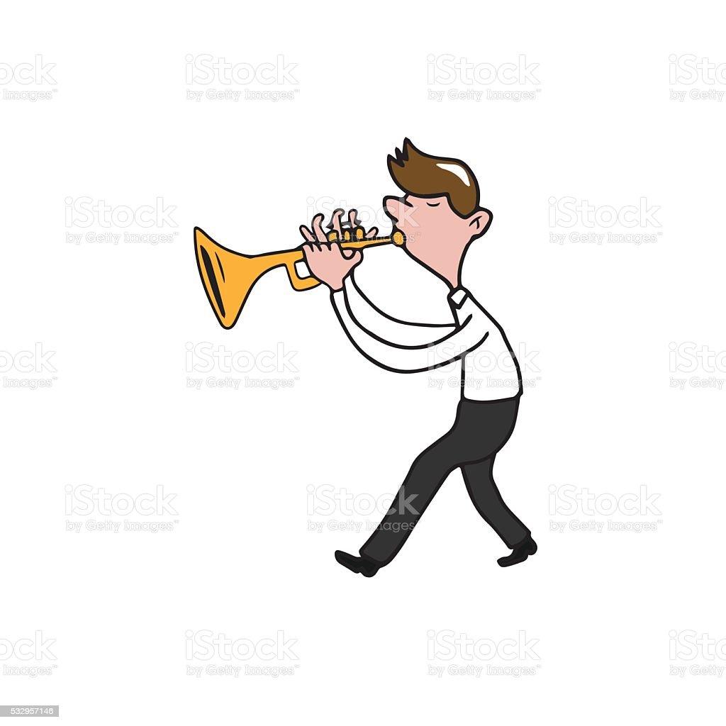 Music instrument man trumpet vector art illustration