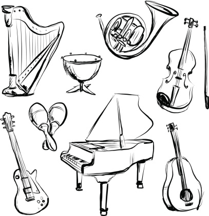 Music instrument n charcoal sketch style