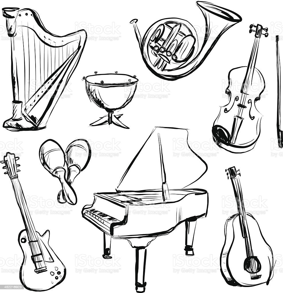 Music instrument n charcoal sketch style vector art illustration