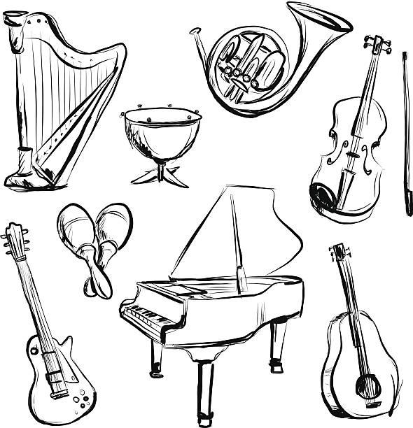 bildbanksillustrationer, clip art samt tecknat material och ikoner med music instrument n charcoal sketch style - violin