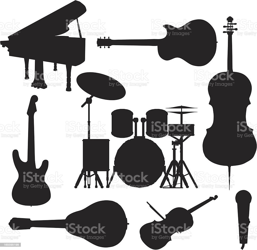 Music Instrument Silhouette Collection royalty-free music instrument silhouette collection stock vector art & more images of acoustic guitar