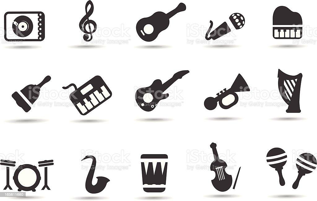 Music Instrument Symbols royalty-free stock vector art