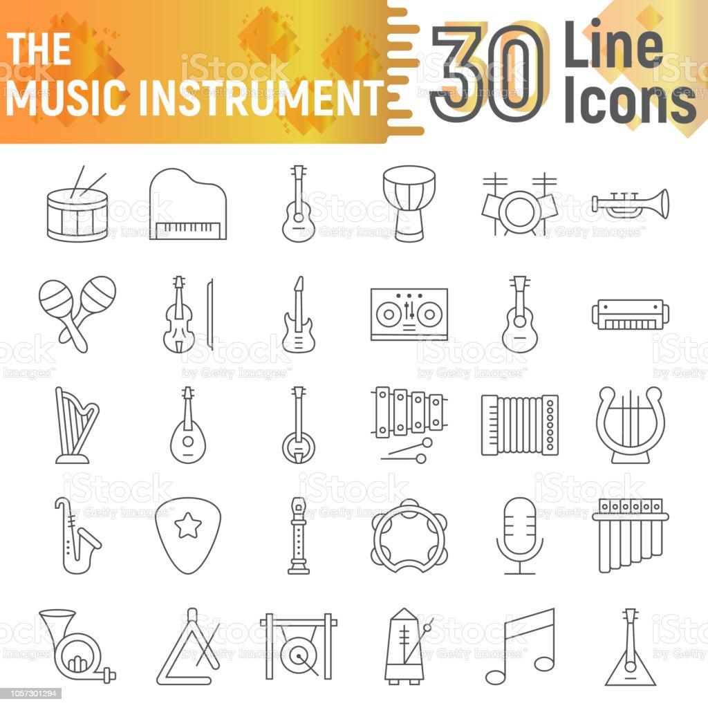 Vetores De Definir Icone De Linha Fina De Instrumento De Musica