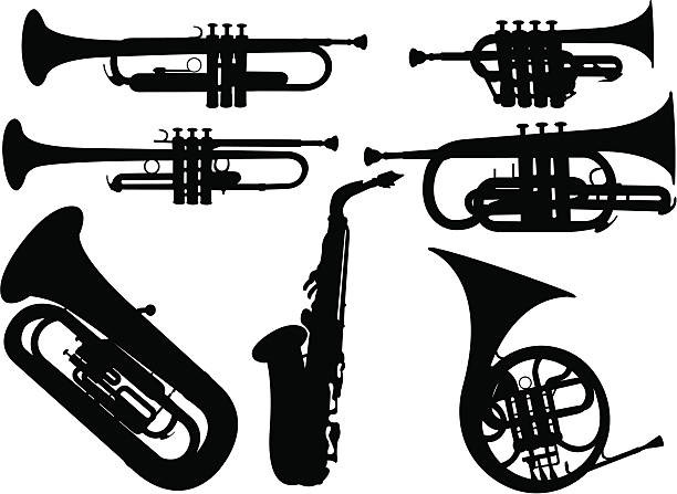 stockillustraties, clipart, cartoons en iconen met music instrument - blaasinstrument
