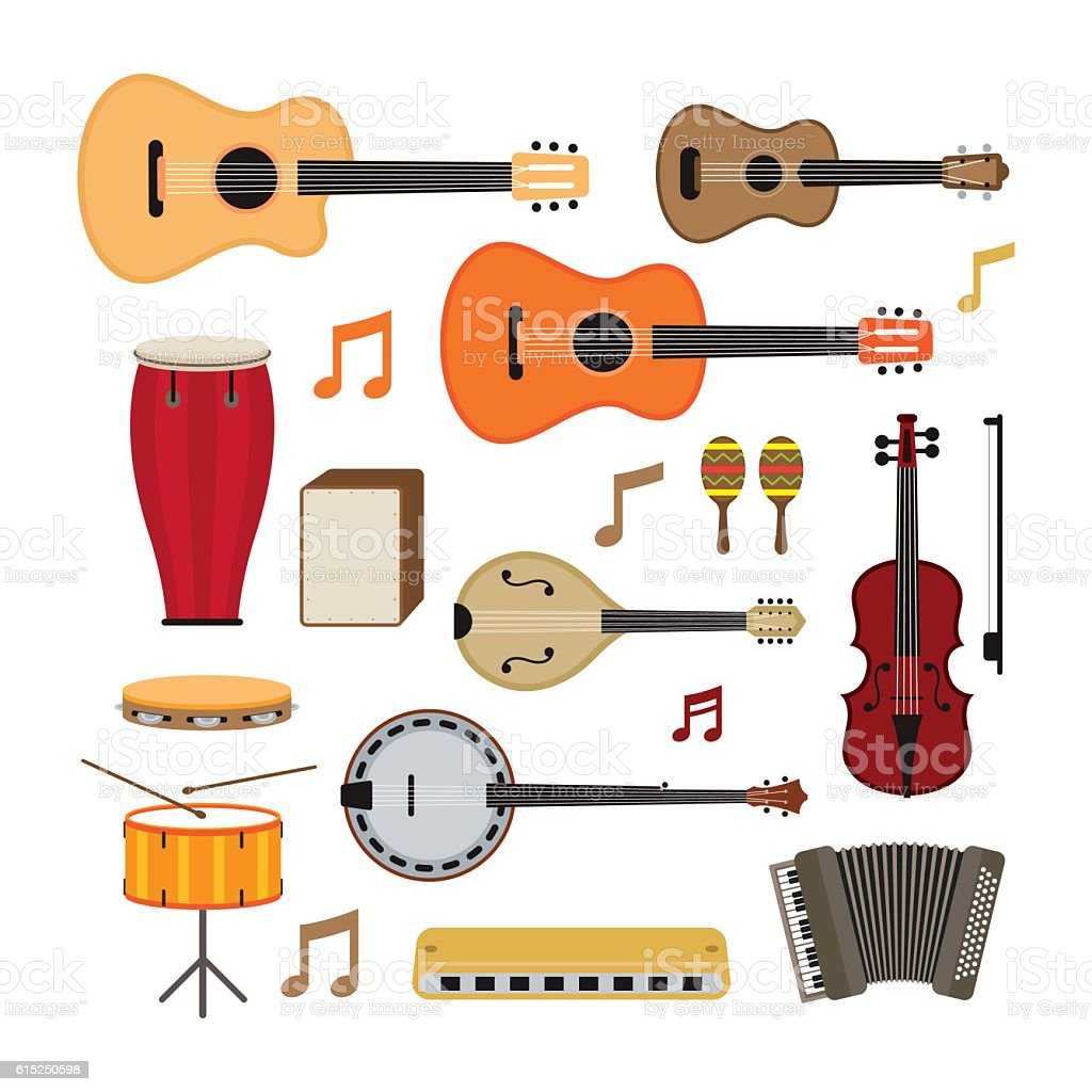 Music Instruments Acoustic Objects Set vector art illustration