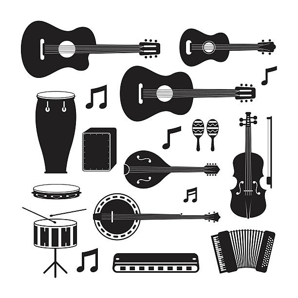 music instruments acoustic silhouette objects set - instrument perkusyjny stock illustrations