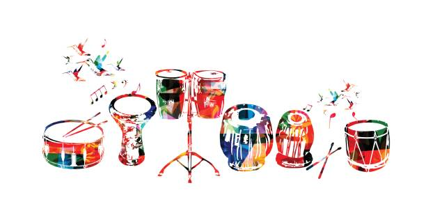 Music instruments background Music instruments background. Colorful drum, darbuka, bongo drums, indian tabla and traditional Turkish drum isolated vector illustration tavla stock illustrations