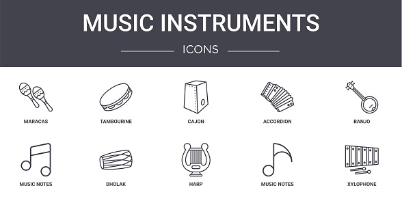 music instruments concept line icons set. contains icons usable for web, logo, ui/ux such as tambourine, accordion, music notes, harp, music notes, xylophone, banjo, cajon
