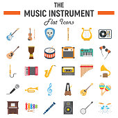 Music instruments flat icon set, audio symbols collection, musical tools vector sketches, icon illustrations, signs colorful solid pictograms package isolated on white background, eps 10.