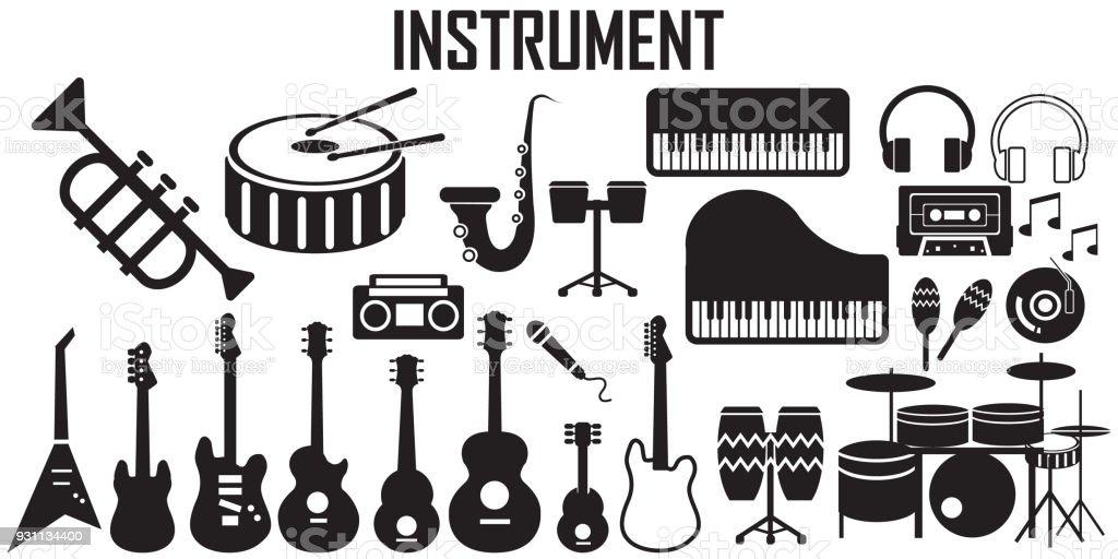 Music Instruments Flat Icons Mono Vector Symbol Stock Vector Art