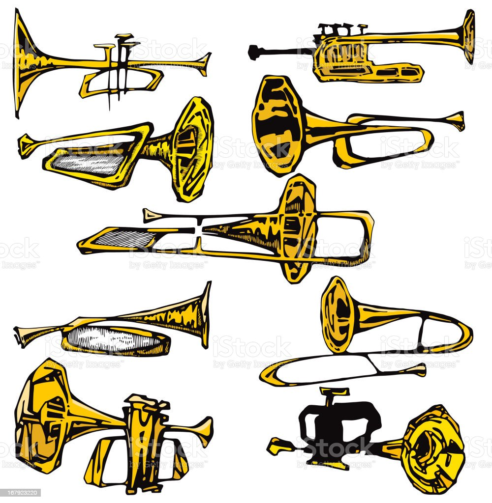 Music Instruments I : Trumpets, Horns (Vector) royalty-free music instruments i trumpets horns stock vector art & more images of adolescence