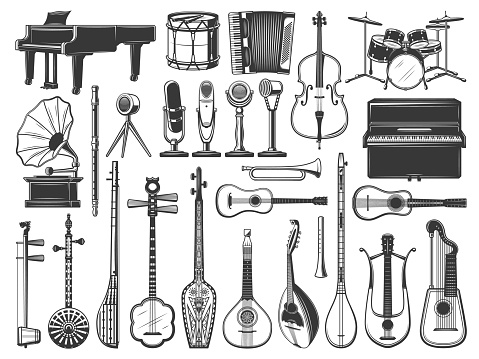 Music instruments icons, drum, violin and guitar