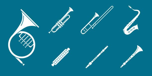 music instruments icons set 06 - waltornista stock illustrations