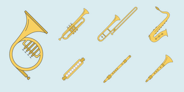 music instruments icons set 11 - waltornista stock illustrations