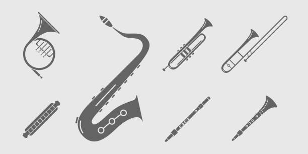 music instruments icons set 18 - waltornista stock illustrations