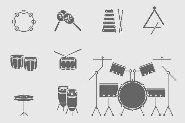 music instruments icons set 20 - instrument perkusyjny stock illustrations